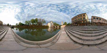 360 degree panorama of Padua of the Piovego river and Porta Portello, Padua, Italy