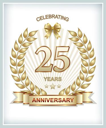 anniversaire: carte avec 25 anniversaire avec épillets de blé