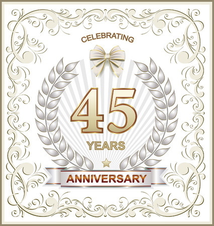 45th: Greeting card with the 45th anniversary