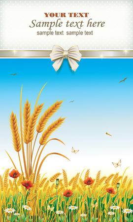 corn poppy: Design wheat field with flowers Illustration