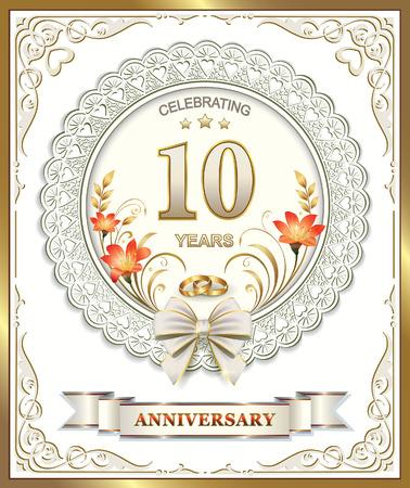 Auguri Anniversario Matrimonio 10 Anni.Vettoriale Biglietto Di Auguri Con 10 Anniversario Di