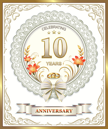 Greeting card with 10 wedding anniversary royalty free cliparts greeting card with 10 wedding anniversary stock vector 39585858 m4hsunfo