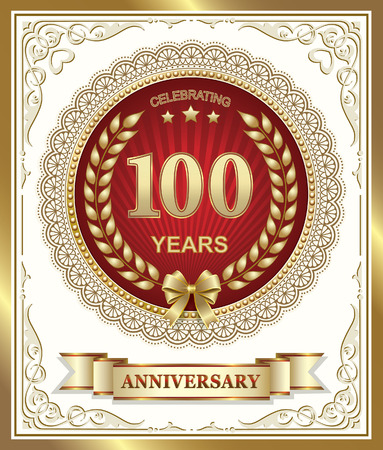 gold design: Happy Anniversary 100 years in the gold design