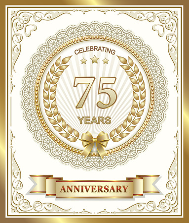 gold design: Anniversary card 75 years in the gold design