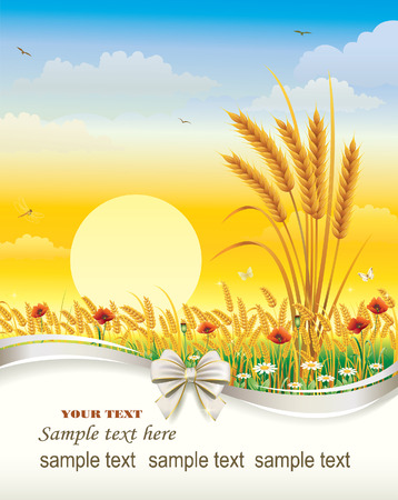 corn poppy: Natural landscape with wheat field and flowers Illustration