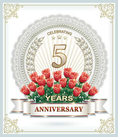 laureate: Happy Birthday 5 years with a bouquet of red roses Illustration