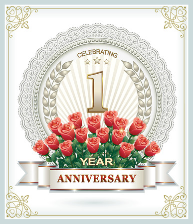laureate: Happy anniversary with a bouquet of red roses Illustration