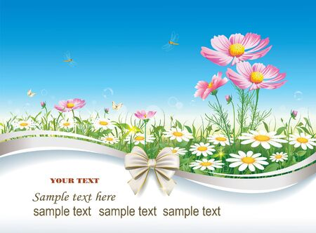 Postcard with daisies decorated bow Vector