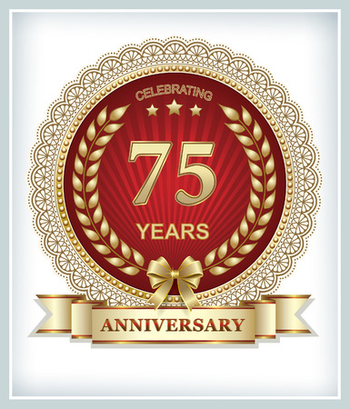 gold design: 75th anniversary in gold design on a red background Illustration