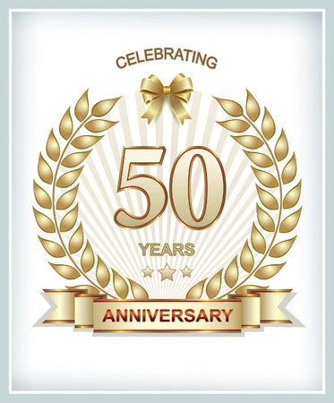 50 years anniversary in gold laurel wreath Illustration