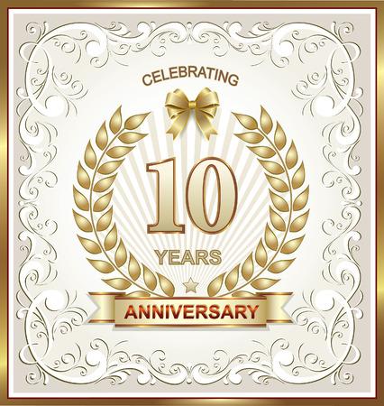 laureate: 10 years anniversary in gold laurel wreath
