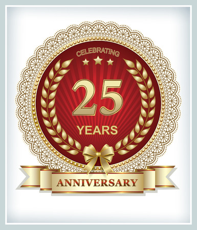 25th: 25th anniversary in gold design on a red background