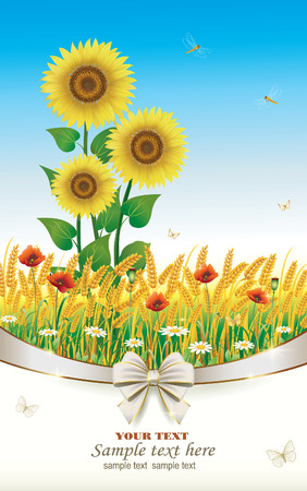 Natural landscape with sunflowers in a wheat field Vector