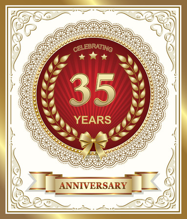 35th: 35th anniversary in gold design on a red background