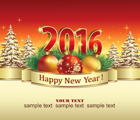 new year's: New Year 2016 poster background of fir trees decorated with ribbon