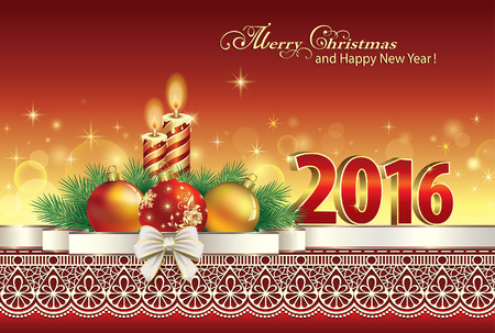 happy new year banner: Merry Christmas and Happy New Year 2016