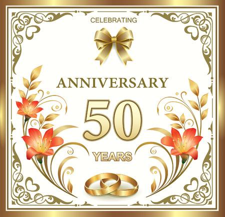 anniversario matrimonio: 50 ° anniversario di matrimonio Vettoriali
