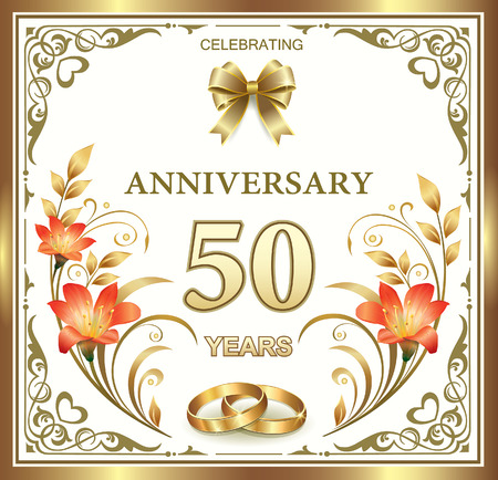 nozze: 50 ° anniversario di matrimonio Vettoriali