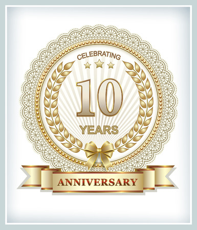 gold design: 10th anniversary in gold design