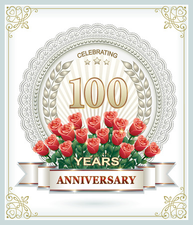 anniversary card: 100th anniversary with a laurel wreath and roses