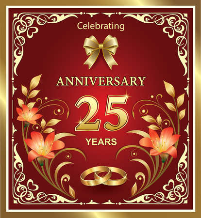 25th Wedding Anniversary With Rings And Flowers On A Red Background Royalty Free Cliparts Vectors Stock Illustration Image 42856521