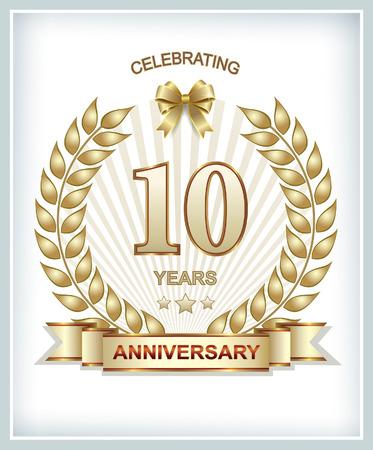 aniversario: 10 � aniversario en oro corona de laurel