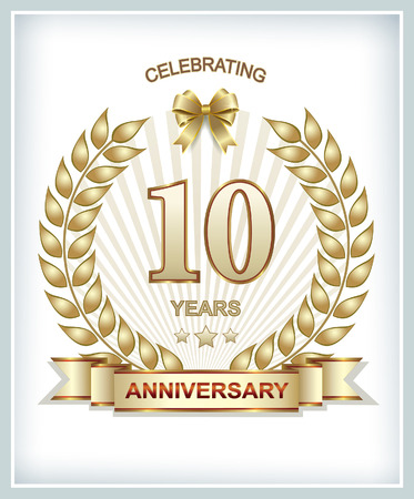 anniversary celebration: 10th anniversary in gold laurel wreath