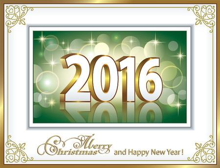 postcard background: 2016 Christmas postcard on background emerald