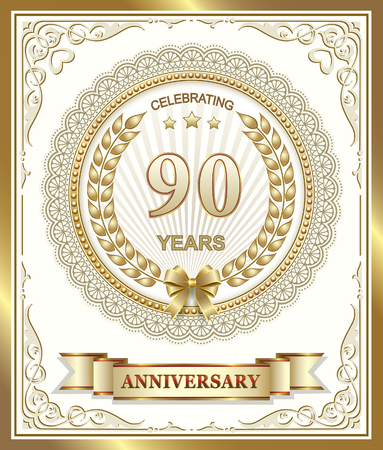 90 years: 90 years anniversary.Gold design.