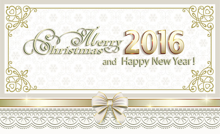 gold design: Merry Christmas and Happy New Year 2016 with gold design Illustration