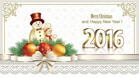 happy new year banner: Happy New Year 2016 with snowmen