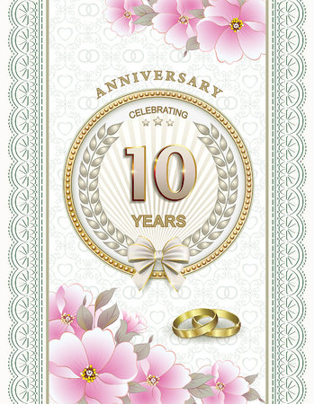 10 years: Anniversary 10 years of marriage Illustration