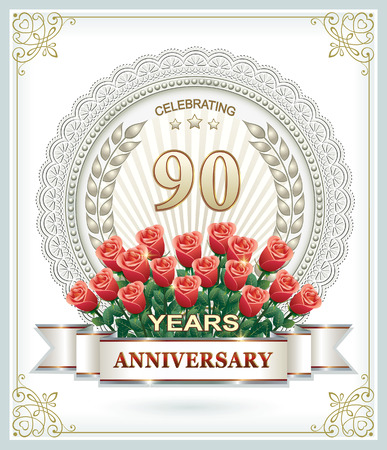 90 years: Anniversary 90 years with a bouquet of red roses