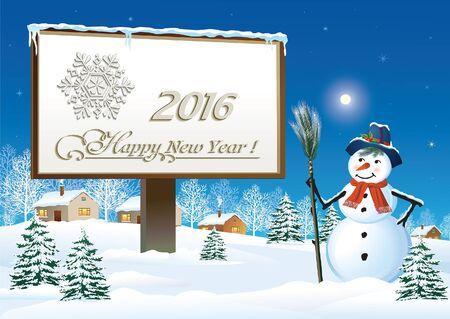 bonhomme de neige: Happy New Year 2016 un panneau d'affichage avec bonhomme de neige Illustration