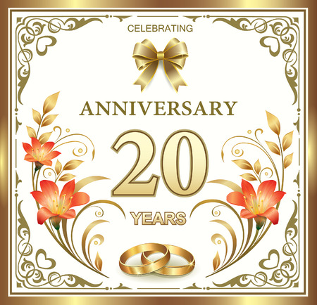 anniversary card: Beautiful card with 20 wedding anniversary with lilies