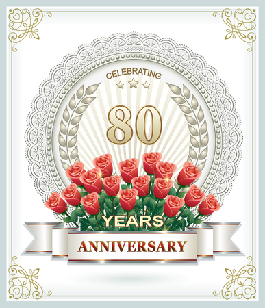 80 years: Birthday 80 years old with a bouquet of red roses Illustration