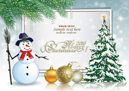 snowman background: Christmas tree with snowman on the background of the poster