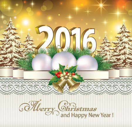 campanas navidad: Feliz Navidad y Feliz A�o Nuevo 2016 Vectores