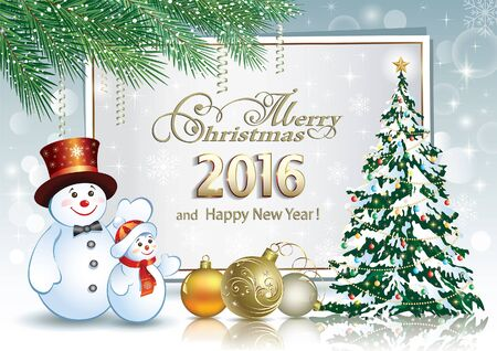 Poster with the Christmas tree and snowmen