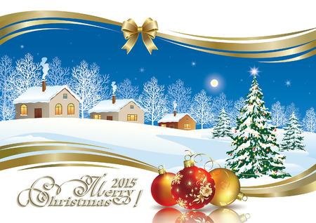 Christmas tree on the background of a winter landscape Çizim