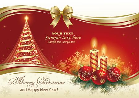 christmas time: Christmas card with Christmas tree