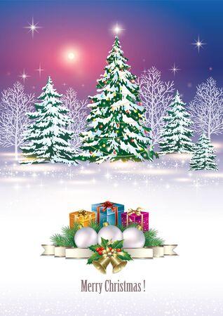 Albero e regalo di Natale caselle in background di un paesaggio invernale Vettoriali