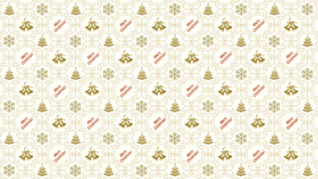 golden color: Christmas background with new year 2016 with snowflakes and Christmas trees and Christmas bells in a golden color