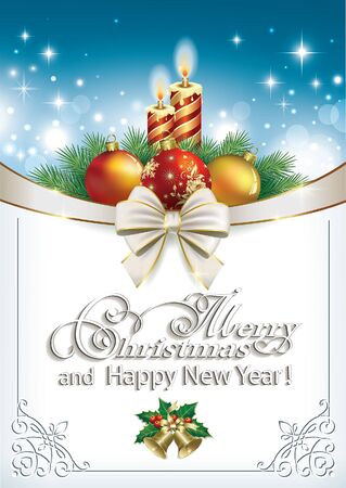 Merry Christmas and Happy New Year Christmas card with candles and Christmas balls