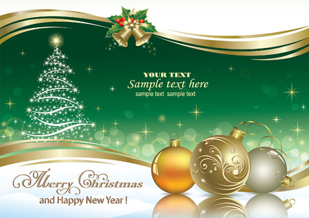 greetings from: Christmas tree on an emerald background decorated with golden wave