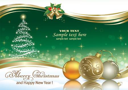 campanas navidad: �rbol de Navidad en un fondo esmeralda decorado con la onda de oro