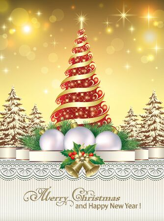 background card: Christmas tree on the background of lights Illustration