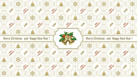 gift wrapping: Background for Christmas 2016 with bells for gift wrapping Illustration