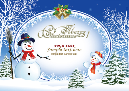 snowman background: Christmas poster with a snowman on the background of a winter landscape