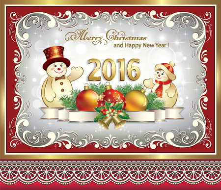 Happy New Year 2016 with snowmen